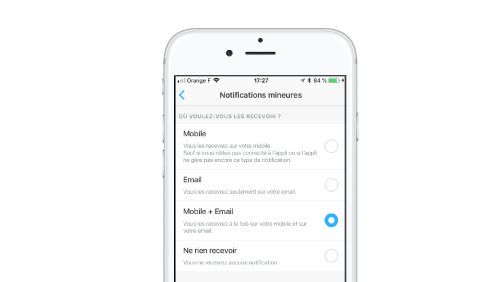 gestion notifcations mineures