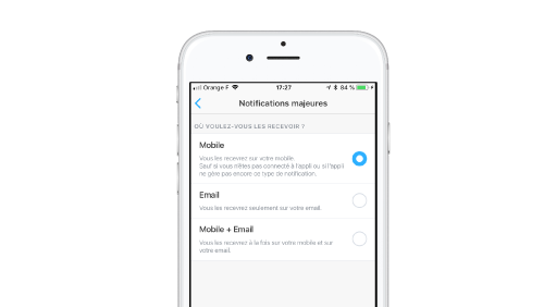 gestion notifications majeures